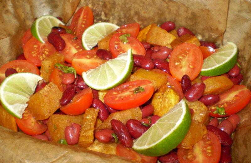 Sült édeskrumpli saláta