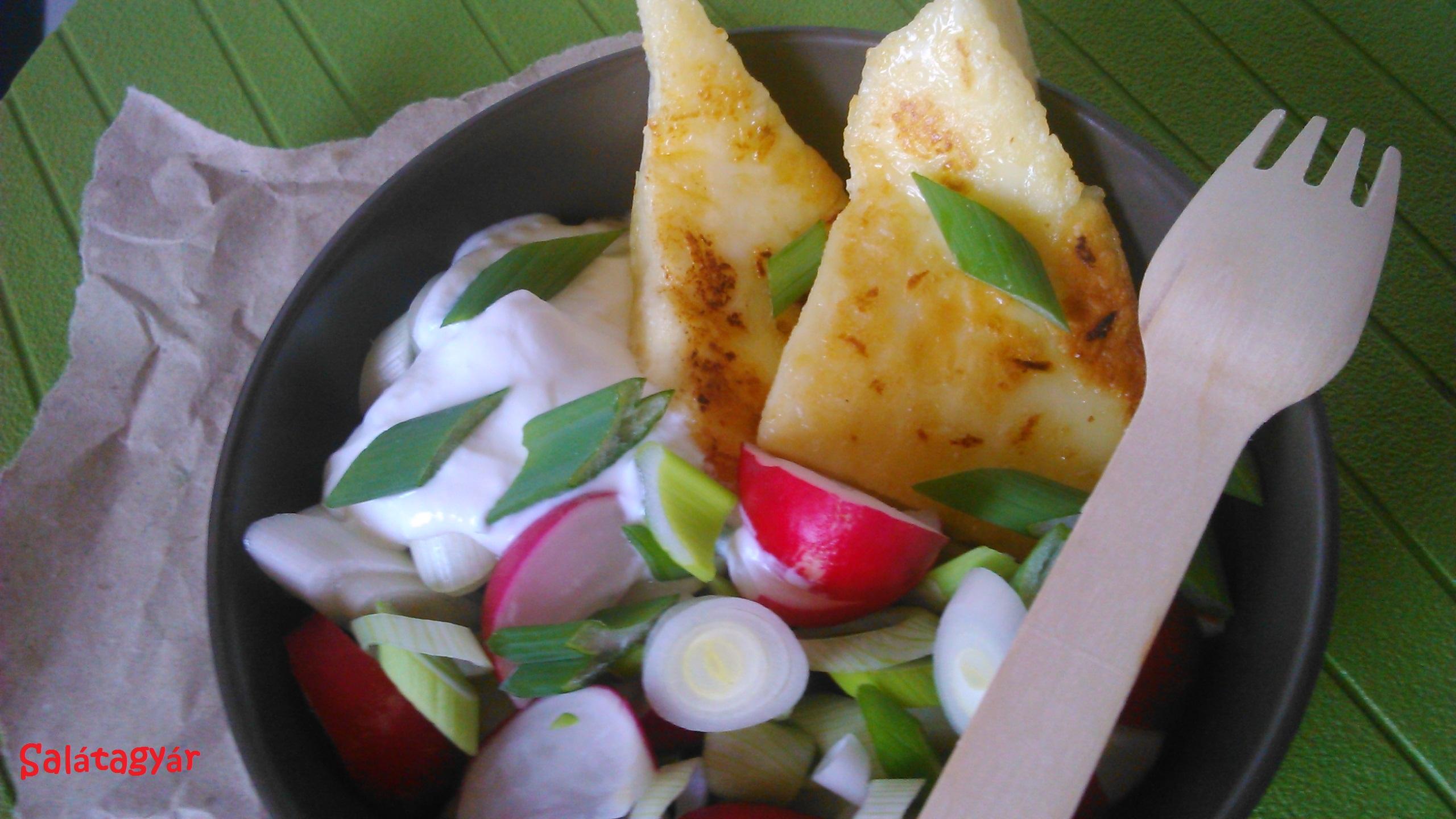 Tavaszi saláta grillezett sajttal
