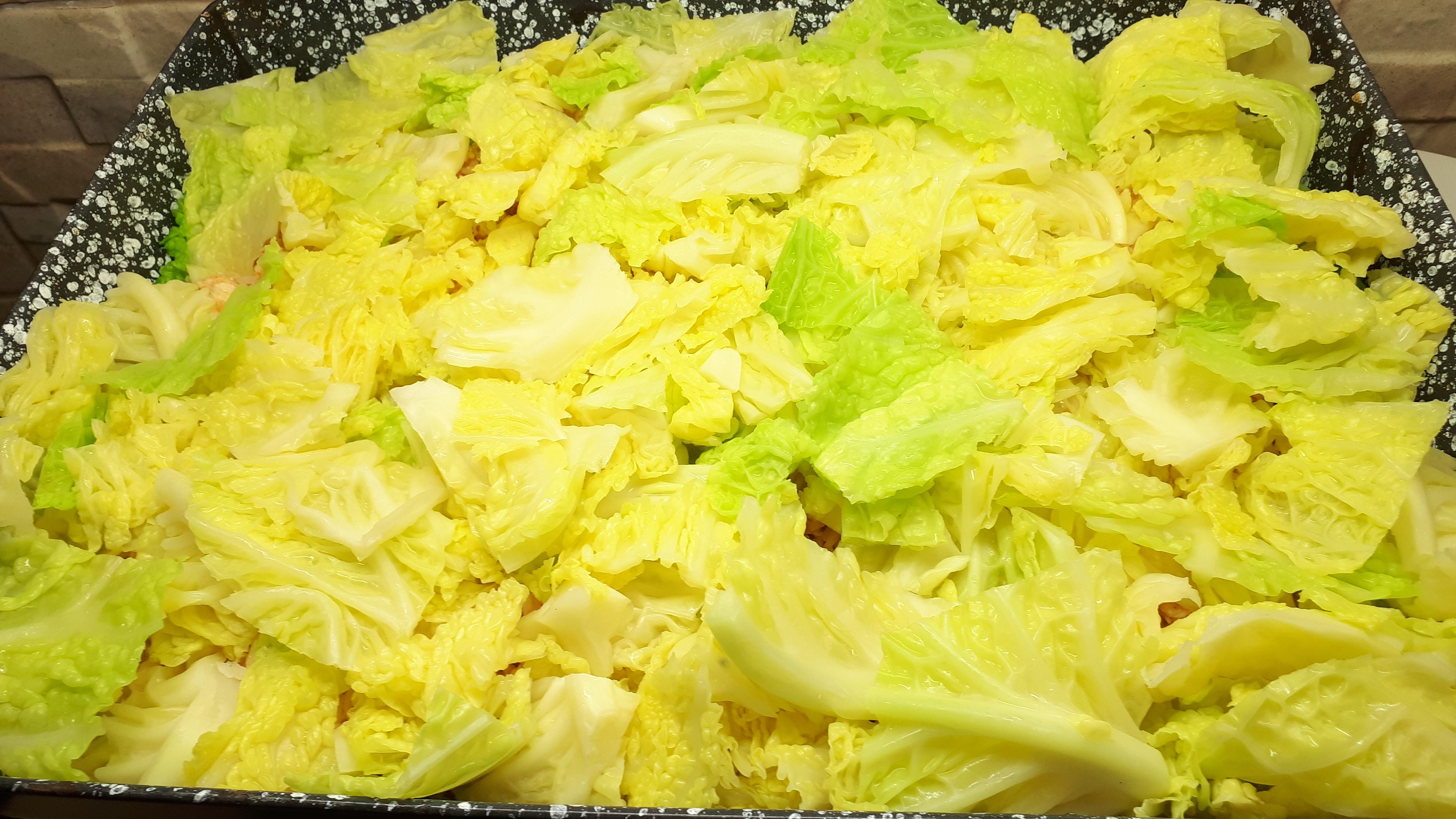 Rakott kelkáposzta diétásan csirkemellből, fehér rizs nélkül