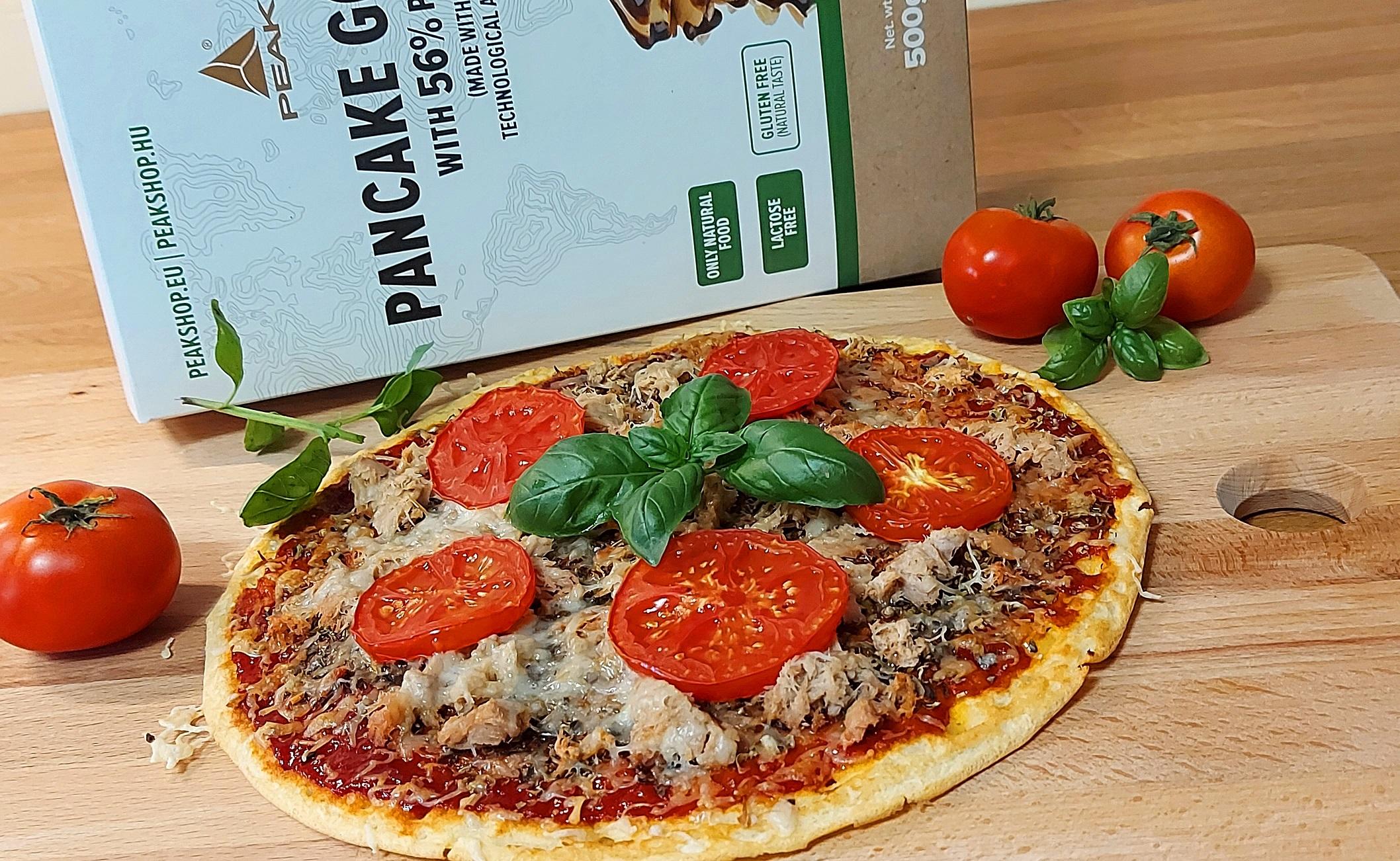 Gyors, egyszerű, fitt tonhalas protein pizza élesztő nélkül PEAK palacsintaporból